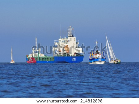 KLAIPEDA,LITHUANIA - JULY 31:yachts and ships in the sea in blue sky on July 31,2011 in Klaipeda,Lithuania.