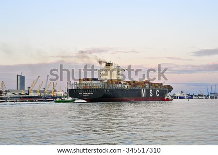 KLAIPEDA,LITHUANIA- JUNE 19:containership MSC CHARLESTON in the Baltic sea on June 19,2015 in Klaipeda,Lithuania.