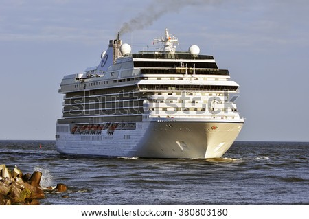 KLAIPEDA,LITHUANIA-JUNE 30:Cruise liner MARINA in the port on June 30,2015 in Klaipeda,Lithuania.MS Marina- Oceania-class cruise ship, constructed in Italy for Oceania Cruises.