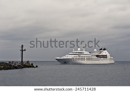 KLAIPEDA,LITHUANIA-JUNE 21:cruise liner SEABOURN PRIDE in port on June 21,2012 in Klaipeda,Lithuania. SEABOURN PRIDE is one of three German built cruise ships. - stock photo