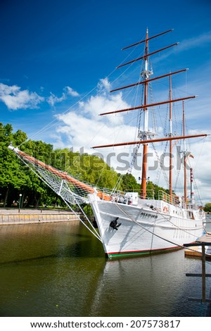 KLAIPEDA, LITHUANIA-JUNE 1: Danes quay - Sailing vessel Meridianas on June 1, 2014 Klaipeda, Lithuania. Meridianas was built in 1948 in Finland and is now one of the most beautiful sights of Klaipeda.