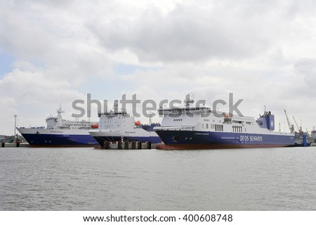 KLAIPEDA, LITHUANIA - JUNE 29: DFDS ships in Klaipeda harbor on June 29, 2015 Klaipeda, Lithuania. DFDS SEAWAYS is Northern Europe's largest shipping and logistics company