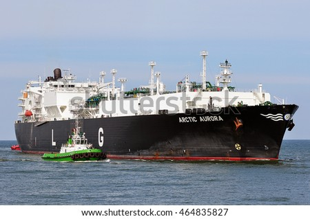 KLAIPEDA,LITHUANIA- JUNE 28: LNG Tanker ARCTIC AURORA (registered in Malta) in the Baltic sea on June 28,2016 in Klaipeda,Lithuania.