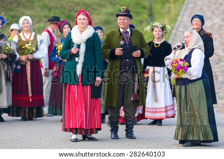 KLAIPEDA, LITHUANIA - 24 JUNE 2014: Saint Jonas' or Dew Holiday Festival (Rasos, Jonines, Kupole) is a midsummer folk festival celebrated on June 24 all around Lithuania.