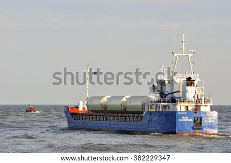 KLAIPEDA,LITHUANIA-JUNE 30:ship FEHN CALEDONIA in the Baltic sea on June 30,2015 in Klaipeda,Lithuania.Ship  FEHN CALEDONIA  is General Cargo ship, registered in Antigua Barbuda