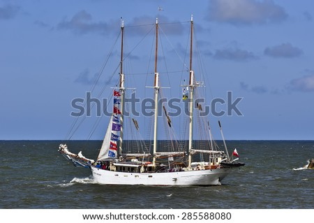 KLAIPEDA,LITHUANIA-JUNE 08:The Final ships parade of The BALTIC TALL SHIPS REGATTA 2015 on June 08,2015 in Klaipeda,Lithuania.