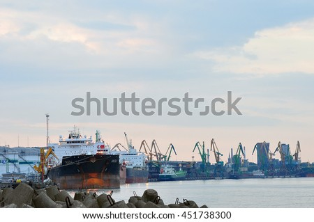 KLAIPEDA,LITHUANIA-JUNE 29:view of the harbor with ships on June 29,2016 in Klaipeda,Lithuania.Klaipeda - city in Lithuania situated at the mouth of the Dan. River where it flows into the Baltic Sea.
