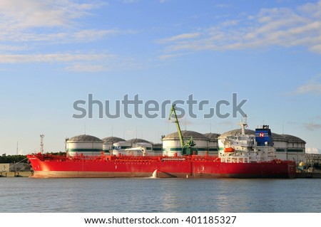 KLAIPEDA,LITHUANIA-JUNE 19: view of the oil station with tanker in port Klaipeda on June 19,2015 in Klaipeda, Lithuania.