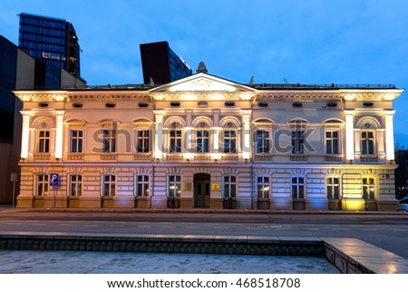 KLAIPEDA, LITHUANIA - 05 MARCH 2016: Illuminated municipal administration building in the Old Town district of Klaipeda city. Lithuania.