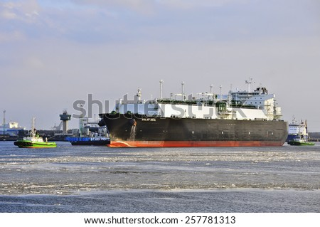 KLAIPEDA,LITHUANIA- MARCH 02: LNG Tanker GOLAR SEAL in Klaipeda port on March 02,2015 in Klaipeda,Lithuania.