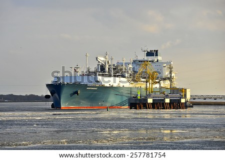KLAIPEDA,LITHUANIA- MARCH 02:The liquefied-natural-g as (LNG) ship Independence  in Klaipeda port on March 02,2015 in Klaipeda,Lithuania.