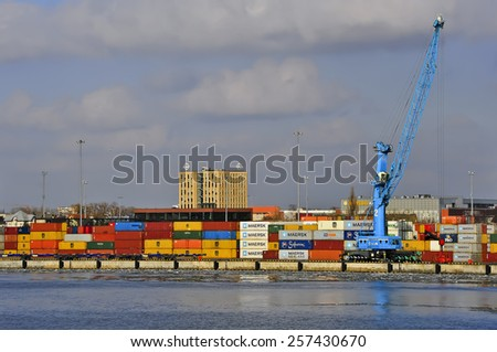 KLAIPEDA,LITHUANIA-MARCH 02:view of the harbor on March 02,2015 in Klaipeda,Lithuania.Klaipeda - city in Lithuania situated at the mouth of the Dan. River where it flows into the Baltic Sea.