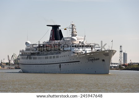 KLAIPEDA,LITHUANIA- MAY 27:cruise liner in port on May 27,2012 in Klaipeda,Lithuania.  - stock photo
