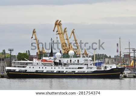 KLAIPEDA,LITHUANIA-MAY 26:Cruise liner SERENISSIMA in the port on May 26,2015 in Klaipeda,Lithuania.