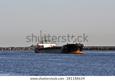 KLAIPEDA,LITHUANIA-MAY 25:ship BALDER in port on May 25,2015 in Klaipeda,Lithuania.