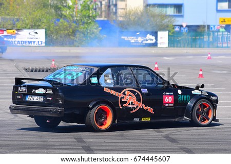 KLAIPEDA,LITHUANIA-MAY 14:Unknown rider overcomes the track in the Vimota Drifting contest - Stage 1 MAY 14, 2017 on May 14,2017 in Klaipeda,Lithuania.