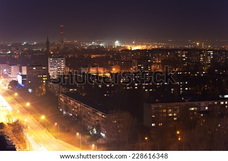 KLAIPEDA,LITHUANIA- NOV 05:view of the city at night in the fog on November 05,2014 in Klaipeda, Lithuania.
