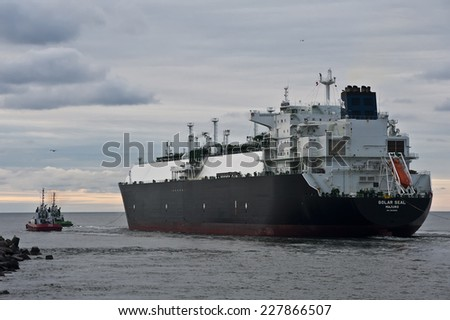 KLAIPEDA,LITHUANIA- OCT 31:GOLAR SEAL LNG Tanker in Klaipeda port  on October 31,2014 in Klaipeda,Lithuania. GOLAR SEAL IMO 9624914 is LNG Tanker, registered in Marshall Islands.