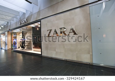 KLAIPEDA,LITHUANIA - OCT 19:  ZARA fashion store on October 19, 2015 in Klaipeda, Lithuania.Zara is an Spanish clothing and accessories retailer.