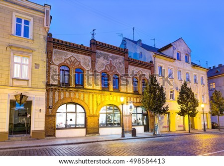 KLAIPEDA, LITHUANIA - 14 OCTOBER 2016: Illuminated residential ornate houses in the Old Town district of Klaipeda. Lithuania.