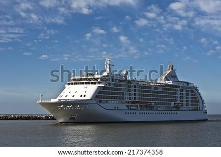KLAIPEDA,LITHUANIA- SEPTEMBER 14:Cruise liner Seven Seas Voyager in port Klaipeda on September 14,2014, Lithuania. Seven Seas Voyager is a cruise ship for Regent Seven Seas Cruises. - stock photo