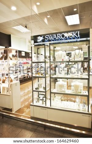 KLAIPEDA - NOVEMBER 24: SWAROVSKI store on November 24, 2013 in Lithuania - stock photo