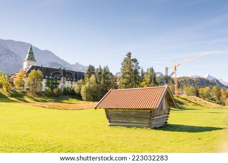 KLAIS, GERMANY - SEPTEMBER 28: Schloss Elmau in Klais, Germany on September 28, 2014. The castle which is now a luxury hotel will be the site of the  G7 summit in 2015.