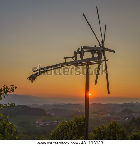 Klapotetz wind wheel in South Styria, Austria Europe