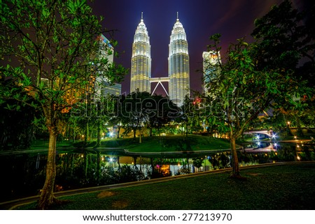 KLCC park near Petronas towers in Kuala Lumpur - stock photo