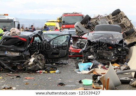 KLEIDI,GREECE - JAN,22: 28 vehicle pile-up on the Egnatia motorway in Kleidi after the crash that occurred early today due to fog on 22 January, 2013. One woman died and 26 others were injured