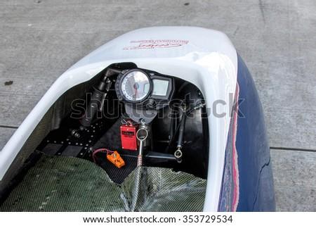 KLETTWITZ, GERMANY - MAY 01, 2015 Lausitzring IDM Sidecar Cockpit - stock photo