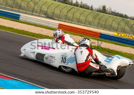 KLETTWITZ, GERMANY - MAY 01, 2015 Lausitzring IDM Sidecar Team Girlinger - stock photo