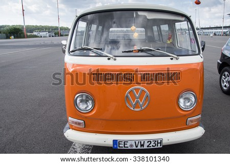 KLETTWITZ, GERMANY - September 26 2015: VW Bully T2, the cult car of the Hippie generation and it remained the status vehicle of the high wave surfers. Front View. - stock photo