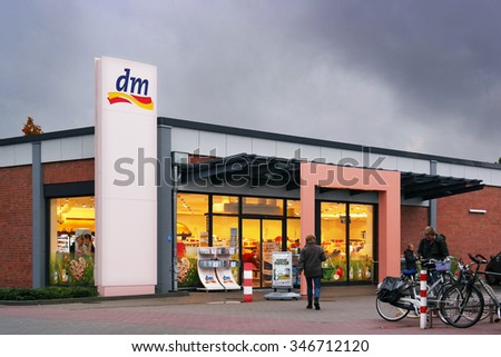 KLEVE, GERMANY - OCTOBER 22: Branch of dm store. dm-drogerie markt is a chain of retail stores that sells cosmetics, healthcare and health food. Taken on October 22, 2015 in Kleve, Germany - stock photo