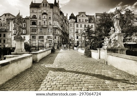 KLODZKO, POLAND - MAY 22, 2014: St. John Bridge in Klodzko. One of the most important monuments of the Lower Silesia - stock photo