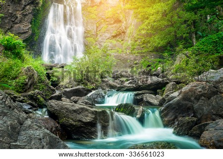 Klonglan waterfall in tropical forest, The famous waterfall in Kamphaeng Phet provinc, Thailand