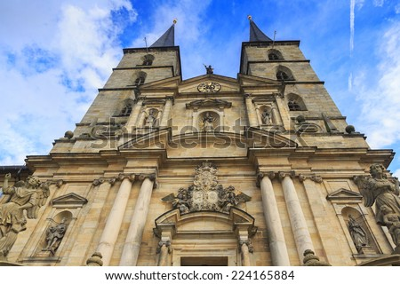 Kloster Michelsberg (Michaelsberg) in Bamburg, Germany with blue sky and closeu view of statues - stock photo