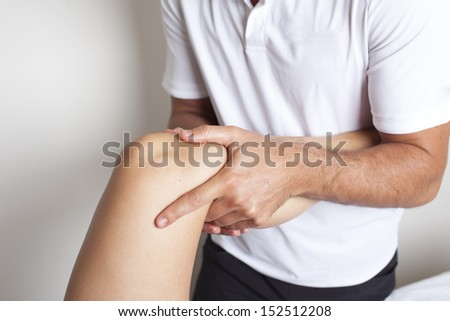 knee massage - stock photo