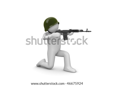 Kneeling Soldier Aiming (3d isolated characters on white background series) - stock photo