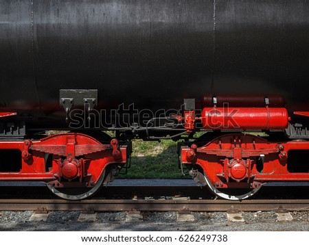 Knezeves, Czech Republic - August 13, 2016 - Detail (close-up) of the historical tanker car at railroad museum Knezeves. Kolesovka Steam Ride.