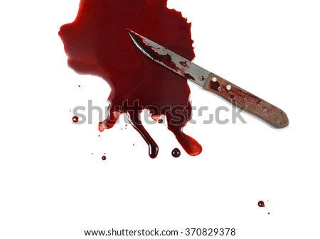 knife and blood on white background