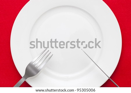 knife and fork above empty plate