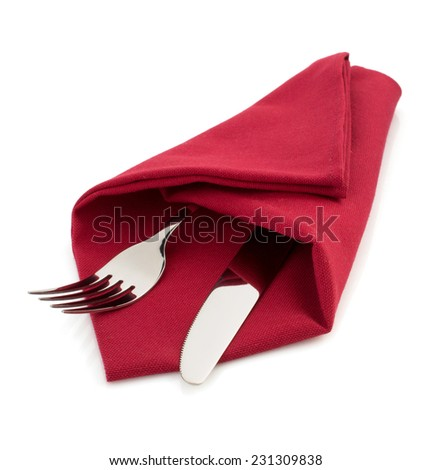 knife and fork at napkin isolated on white background - stock photo