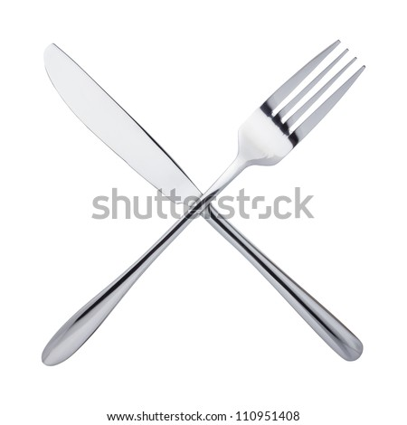 Knife and fork crossed, isolated on white background - stock photo