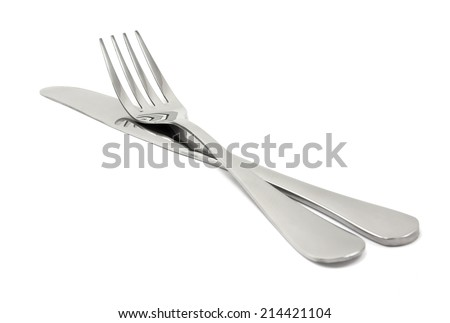 Knife and fork on a white background - stock photo