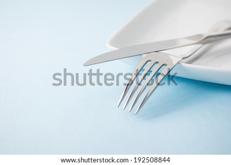 Knife and fork on plate - stock photo