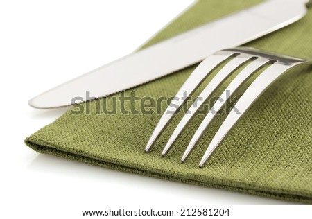 knife and fork on white background - stock photo