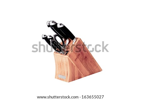 Knife block, isolated on white background.