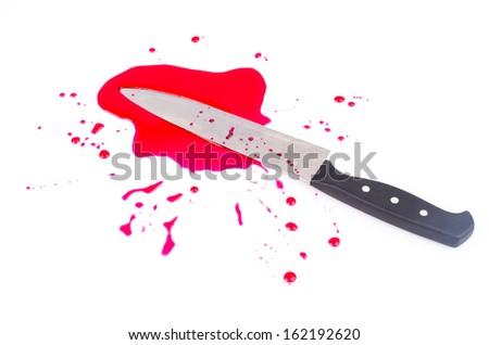 Knife blood on isolated white background - stock photo