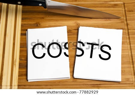 Knife cut paper with costs word - stock photo